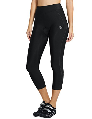 BALEAF Women's 3D Padded UPF 50+ 3/4 Cycling Compression Tights Capris with Pocket Black Line Size...