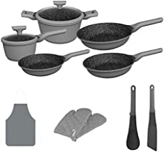 Chef's Star Professional Grade Die Cast Aluminum Cookware Set, Non Stick Pots and Pans with Soft Grip Bakelite Handle,Suitable For All Cooktops-Includes Oven Gloves and Apron-12 piece (Gray)