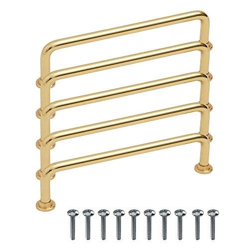 "Beslag Design - 5 tiradores de barra para muebles ""1353"" de latón pulido - Distancia entre orificios 128 mm - Tirador para armario de cocina, cajón o cómoda - Diseño clásico y moderno escandinavo"