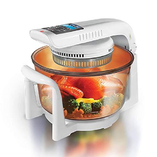 Friteuse à air pulsé, four grille-pain à convection de 12 QT, cuisinière infrarouge à l'halogène infrarouge pour appareils de cuisson à air chaud LCD, blanche, blanc