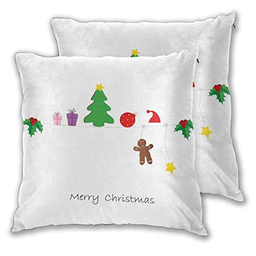 Xlcsomf Kids Christmas Pillow Cover, 24 x 24 Inch Border with Cute Hanging Icons in Drawing Style Celebration of Noel Yuletide Easy to disassemble Christmas decoration Multicolor Set of 2