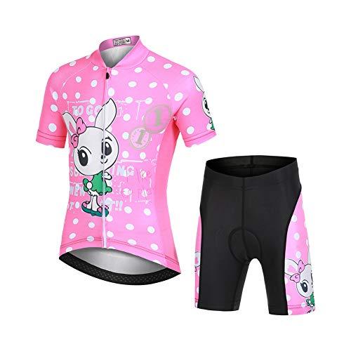 LSHEL Jungen Mädchen Fahrrad Set Quick Dry Kurzarm Trikot + Radhose Atmungsaktiver Radsport Anzüge, Rosa Kaninchen, 104/110(Herstellergröße: S)
