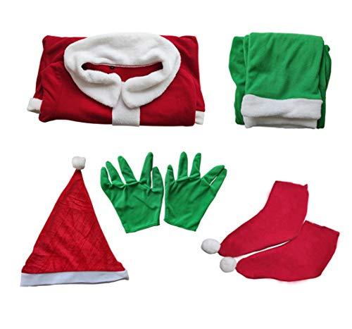 Yuanu Grinch Kostüm Weihnachten Cosplay Outfit Requisiten Mit Langarm-Shirt Hose Hut Gürtel Handschuhe Schuhe Erwachsene Party Verrücktes Kleid Grünes Monster Kleidungsset Grinch Kostüm L