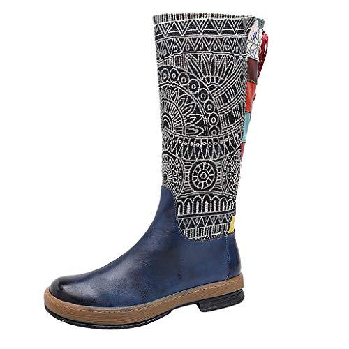 Damen Stiefel FGHYH Frauen-Stickerei-Spitze-Schuh-Spleißmuster-flache böhmische Art-Kniestiefel(42, Blau)
