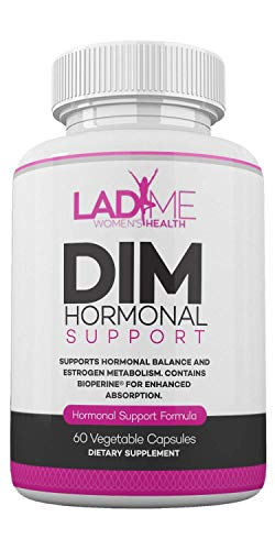 DIM Complex 150mg Hormonal Support Menopause Relief Supplement for Hot Flashes & Hormonal Acne Relief Bioperine, Broccoli & Calcium Estrogen Metabolism Balancing Pills for Women 60 Capsules by LadyMe