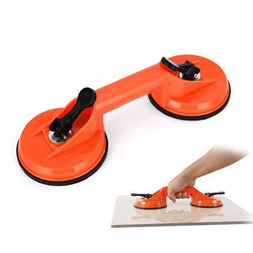 XGzhsa Ventosas de vidrio, ventosas dobles, pinza de ventosa de vacío para trabajo pesado, ideal para mover baldosas de cerámica para pisos de vidrio grandes, alta capacidad de carga (Naranja)