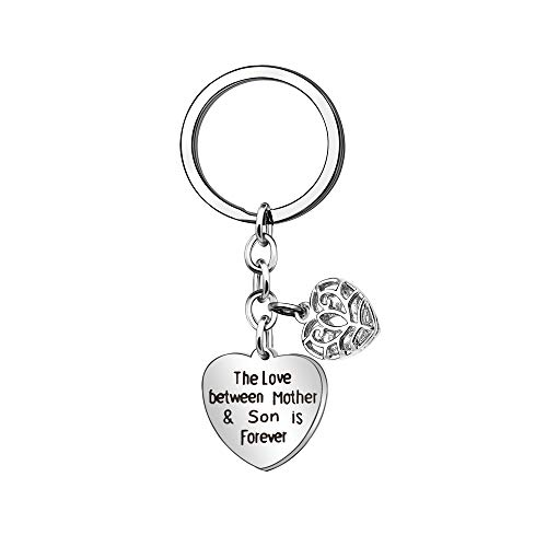KENYG The Love Between Mother and Son is Forever Heart Shape Pendant Key Ring Key Chain Mothers Day