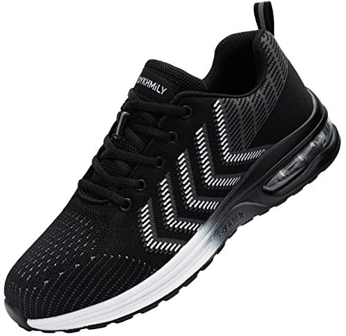 Fenlern Zapatillas de Seguridad Hombre Ligeras Colchón de Aire Zapatos de Seguridad Trabajo Punta de Acero Calzado de Seguridad (Rayas Blancas,44 EU)
