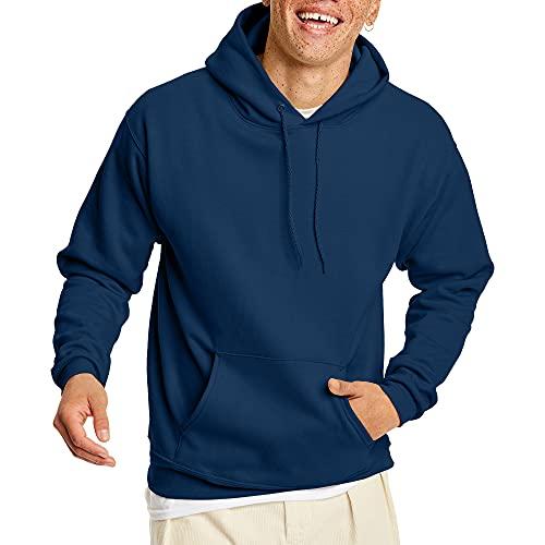 Hanes Men's Pullover EcoSmart Hooded Sweatshirt, Navy, Medium