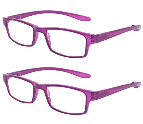 TBOC Gafas de Lectura Presbicia Vista Cansada - (Pack 2 Unidades) Graduadas +4.00 Dioptrías Montura de Pasta Morada Patillas Extra Largas Colgar Cuello Hombre Mujer Unisex de Aumento Leer Ver Cerca