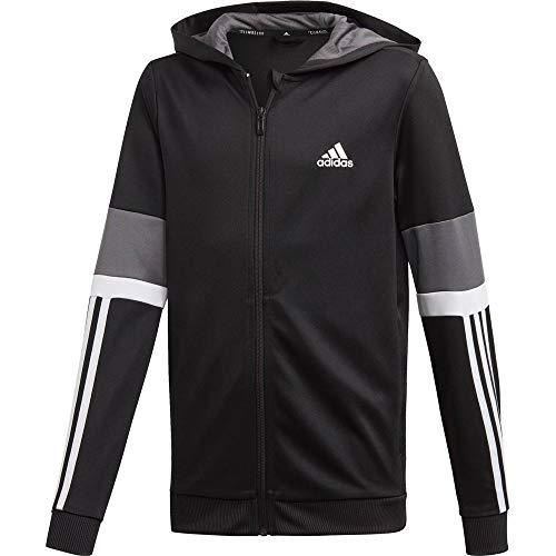 adidas Jungen Equipment Kapuzenjacke, Black/Grey/White, 140
