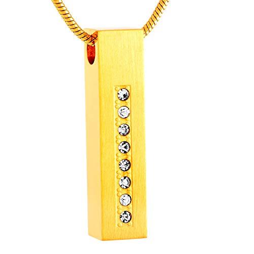 WANFJ Cremación Collar Cofre De Joyería De Acero Inoxidable, Oro Rosa, Oro, Plata, Color Negro, Urna De Cremación, Collar-C