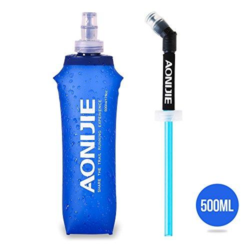 Lixada Running Water Kettle, Sport Pieghevole BPA Free Soft Running Water Kettle Soft Flask Hiking Hydration Bottle con Extra Straw 250/500 ml