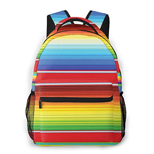 Lawenp School Backpacks Horizontal and Colored Ethnic Blanket Rug Lines Pattern Vibrant Abstract Design for Teen Girls&Boys 16 Inch Student Bookbags Laptop Casual Rucksack