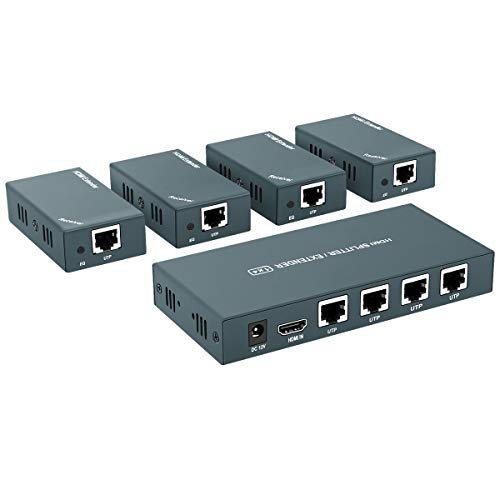 HDMI Extender Splitter 1x4, 1080P@60Hz, Extending 165ft (50m) Length Transmission Over CAT5e/CAT6/CAT7 Cable, 4 Channel Transmission Only 1 Power Adapter