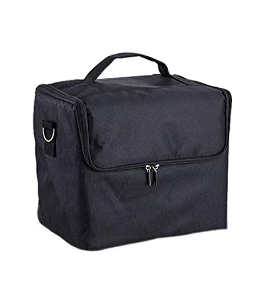 ピース振り向くうそつき化粧箱、大容量多機能化粧品ケース、ポータブル旅行化粧品袋収納袋、美容化粧ネイルジュエリー収納箱 (Color : ブラック)
