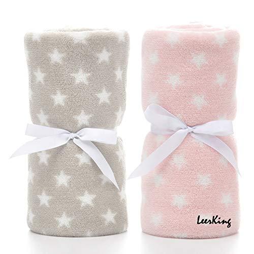 LeerKing Paquete de 2 Manta Bebe Recien Nacido Forro Polar Invierno con Patrón de Manchas y Estrellas para Niña y Niño 75 * 100CM, Gris & Rosa