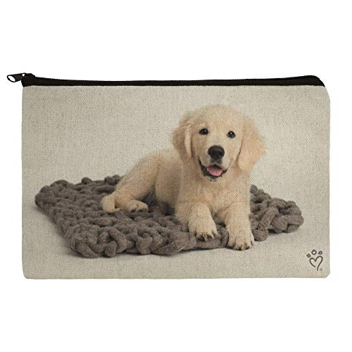 Golden Retriever Puppy Dog Knotty Blanket Pencil Pen Organizer Zipper Pouch Case