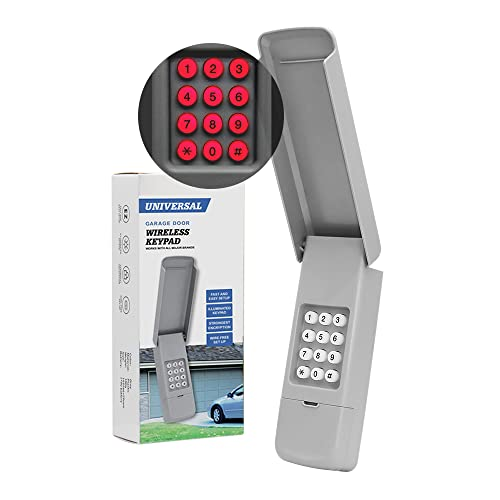 Universal Garage Door keypad for Chamberlain/Liftmaster/Genie/Linear/Multi-Code/Craftsman/Overhead Door/Stanley Openers ONLY, Keyless Entry, 2-Channel, Grey, Pay Attention to Compatibility
