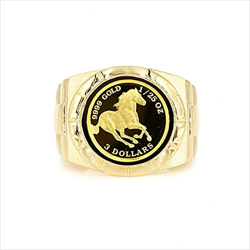 K24 純金 ゴールド ツバルホースコイン 1/25oz K18 リング #19