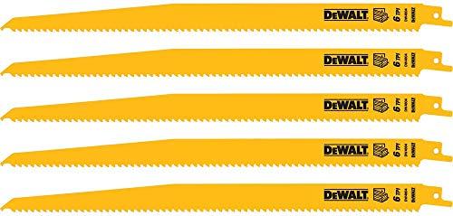 DEWALT Reciprocating Saw Blades, Bi-Metal, 12-Inch, 6 TPI, 5-Pack (DW4804)