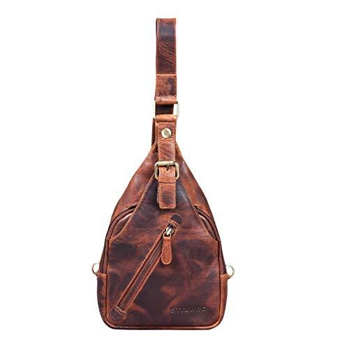 STILORD 'Odysseus' Vintage borstzakleder mannen vrouwen Vintage schoudertas sling rugzak dagrugzak echt leer, Kleur:kara - cognac