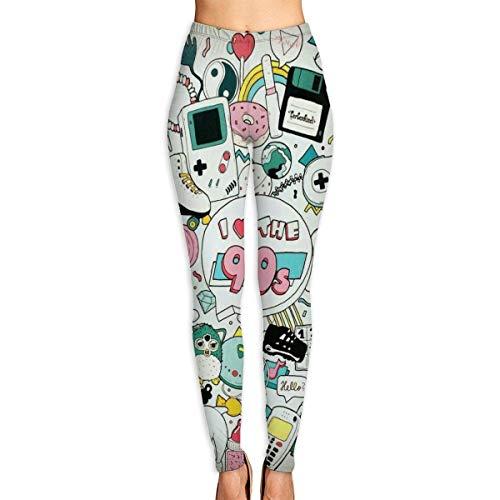 Ewtretr Yoga Pilates Hosen Fitnesshose für Damen, I Love The 90s Printed Leggings Full-Length Yoga Workout Leggings Pants