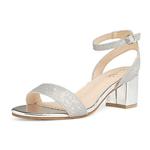 DREAM PAIRS Women's Silver Glitter Open Toe Ankle Strap Low Block Chunky Heels Sandals Party Dress Pumps Shoes Size 9.5 M US Carnival