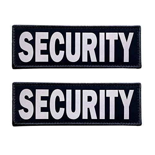 JUJUPUPS Black Reflective Dog Patches 2 Pack Service Dog ,in Training, DO NOT PET, Tags with Hook and Loop Patches for Vests and Harnesses (Security, 6x2 inch)