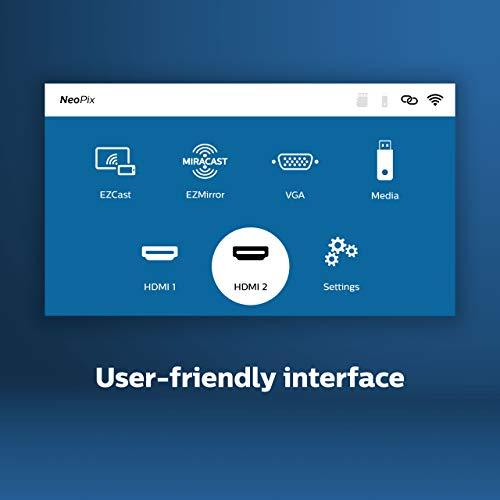 Philips Projection NeoPix Easy+, Miniprojektor, 2.600 LED-Lumen, 80″ Bildgröße, Bildschirmspiegelung via Wi-Fi, Bluetooth, integrierter Media-Player, HDMI, USB, microSD, 3,5-mm-Audioausgang, Grey