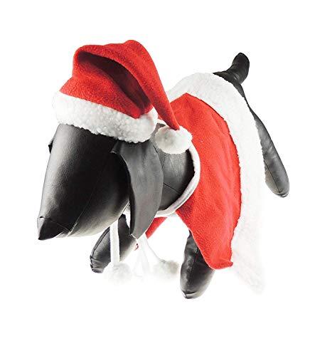 Glamour Girlz Super Leuke Hond Kat Feestelijke Kerstmis Warm Winterjas Mantel Kostuum Kaap & Hoed Rood, Large, Rood
