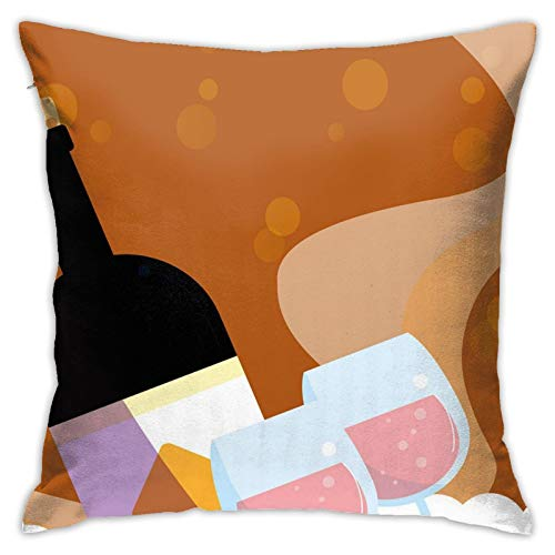 DHNKW Throw Pillow Case Cushion Cover,Rose Wine Bottle Glasses Bubbles Background Cartoon ,18x18 Inches