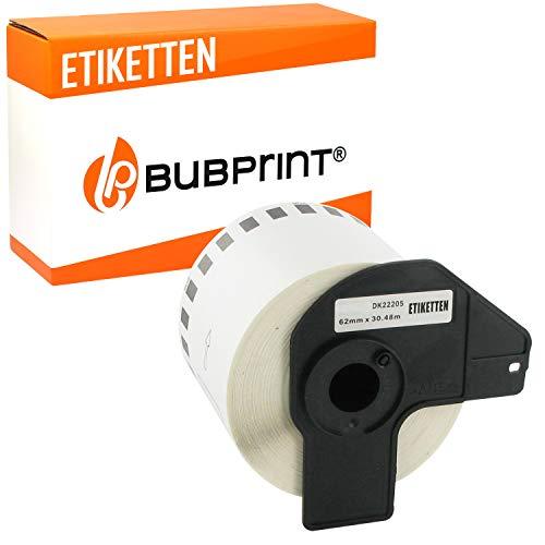 Bubprint Etiketten kompatibel für Brother DK-22205 für P-Touch QL500 QL500BW QL550 QL560 QL570 QL700 QL710 QL710W QL720NW QL800 QL810W QL820 QL820NWB QL820NW QL1060N QL1100