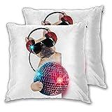 NANITHG Juego de 2 Fundas de cojín,Música DJ Bulldog Escuchando música con una Elegante Bola de Discoteca y Luces Puppy Enjoy,Decorativa Cuadrado Suave Funda de Almohada Sofá Sillas Cama,45x45cm
