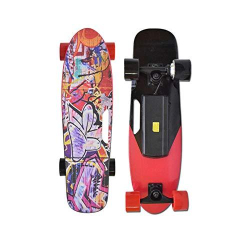 ZHENAI Mini Electric Skateboard für Kinder, 15 Stundenmeilen Höchstgeschwindigkeit 6-8km Endurance mit Fernbedienung, 300W Motor Motorized Skateboard,Rot