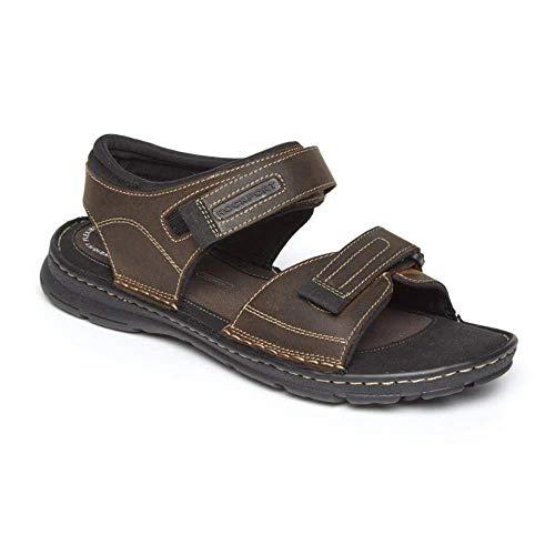 Rockport Men's Darwyn Quarter Strap Platform Slide Sandal, Brown Ii Leather, 9.5 W US