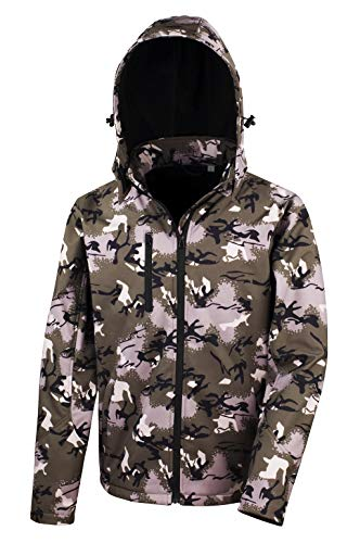 Result Camo Tx Performance Softshell, Blouson Col roulé Manches longues Homme, Vert (Green Camo R235XCAMGLG), Large (Taille fabricant: Large)