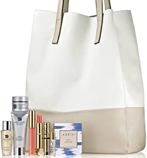 Estee Lauder 2014 Skincare Gift Set with a Tote Including Re Nutriv Ultimate Lift Age-correcting Crème, Re Nutriv Hydrating Cream Cleanser, Re Nutriv Softening Lotion, Aerin Ikat Jasmine Eau De Parfum, Pure Color Long Lasting Lipstick & Gloss
