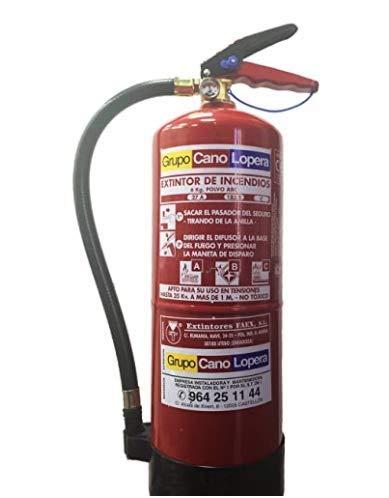 Grupo Cano Lopera | Extintor Universal Polvo Seco ABC con Capacidad de 6 Kg | Homologado | Eficacia 27A -183B | Útil para Casa - Caravana - Oficina - Restaurante | Incluye Señal + Soporte