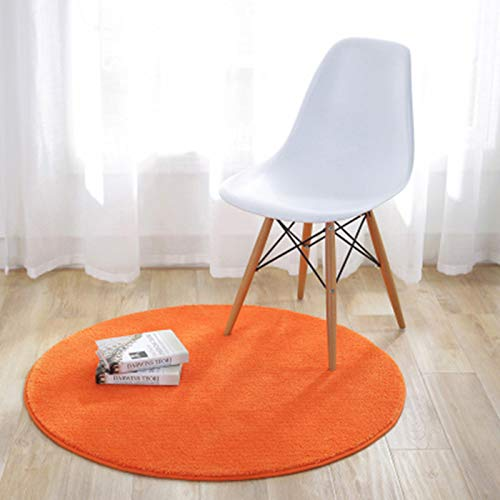 KiKom - Alfombra Redonda de Color Sólido para Sala de Estar Dormitorio Salón Estudio Canasta Colgante Silla para Computadora Alfombra para Niños - 80 cm, Naranja