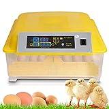 Oppikle 48 Eier Intelligentes digitales Brutmaschine Brutkasten mit LED Temperaturanzeige und Feuchtigkeitsregulierung,Inkubator Vollautomatische Brutmaschine (48 Eier Gelb)