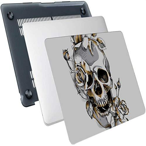 Macbook Case 12 Inch Flowers Rose Sugar Skull Carcasa rígida de plástico Compatible con Mac Air 13'Pro 13' / 16'13 Pulgadas Funda Protectora para computadora portátil para Macbook 2016-2020 Versión