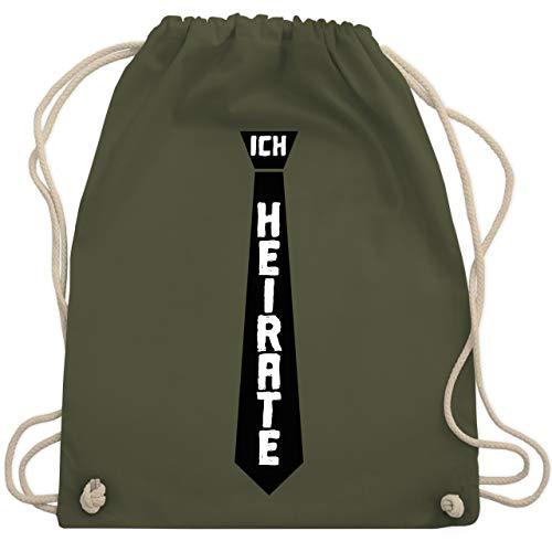 Shirtracer JGA Junggesellenabschied Männer - Ich heirate Krawatte - Unisize - Olivgrün - WM110_Stoffbeutel - WM110 - Turnbeutel und Stoffbeutel aus Baumwolle
