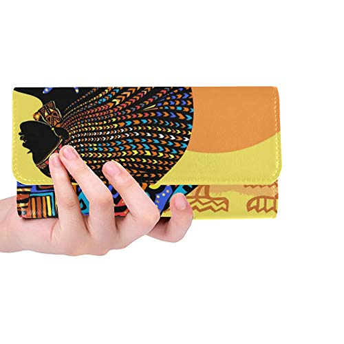 Unique Custom Belle Femme Africaine Brillante Robe Contre Les Femmes Trifold Portefeuille Longue Bourse Porte-Carte De Crédit Cas Sac À Main