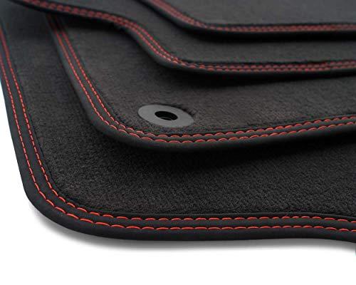 kh Teile Fußmatten 207 CC W Cabrio Original Qualität Automatten 4-teilig Velours anthrazit, Doppelnaht Rot