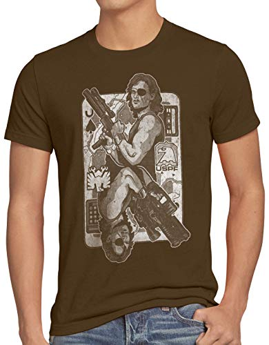 style3 Snake Plissken T-Shirt Homme Escape from New York 1997, Taille:2XL, Couleur:Marron