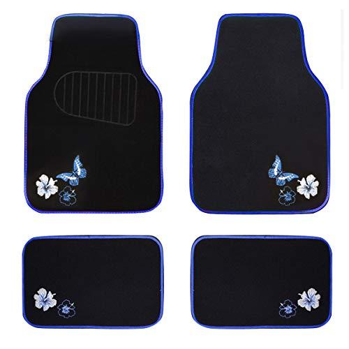 Eono by Amazon - Alfombrillas de piso para coche, diseño de mariposa y flores, ajuste universal para SUV, camiones, sedanes, furgonetas, juego de 4 (azul)