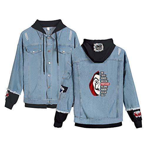 La Casa de Papel Jacke Zweifarbig Damen Used Look Jeansjacke 2 in 1 Patchwork Retro Denimjacke Jeansmantel mit Kapuze Sweatjacke Old School...