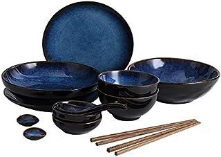 Service de Plaque de DîNer Arts De La Table Japonaise Set Céramique Vaisselle Accueil Vaisselle Bol Plat Soupe Bol De Riz ...