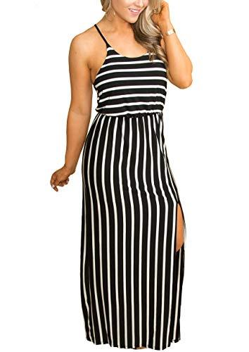 Zattcas Womens Maxi Dress Summer Beach Spaghetti Strap Split Striped Long Dresses Black Small